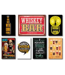 kit placas decorativas bebidas frases vintage mdf - 7 placas