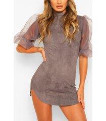 organza bodycon mini dress, dark grey