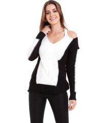 blusa kinara tricot mousse ombro de fora branco