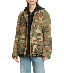 women's r13 camo abu jacket with long hoodie, size - (nordstrom exclusive)