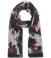 calvin klein pop floral logo chiffon scarf