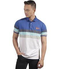 camiseta polo hombre manga corta slim fit azul marfil fin