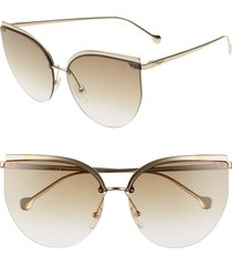 women's salvatore ferragamo 64mm oversize rimless cat eye sunglasses -