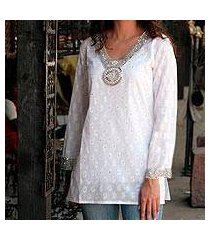 beaded cotton blouse, 'dazzling white' (india)