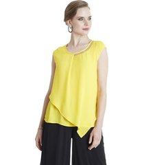 blusa strass cuello amarillo lorenzo di pontti