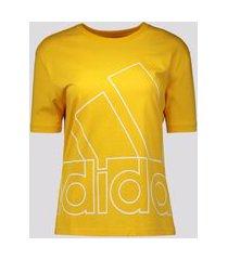 camiseta adidas big logo feminina amarela