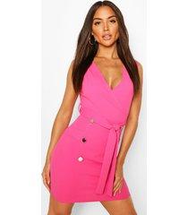 mouwloze blazer jurk met ceintuur, warm roze