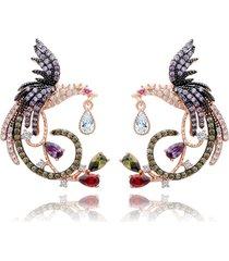 orecchini donna di lusso phoenix fiore orecchini etnici colorati pieni di zirconi piercing per le donne