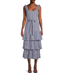 likely women's charlotte gingham tiered midi dress - navy white - size 12