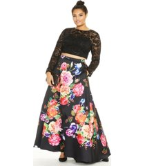 b darlin trendy plus size 2-pc. sequined lace & floral-print gown, created for macy's