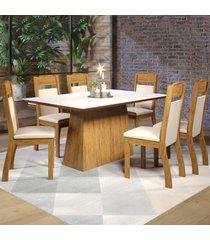 mesa de jantar 6 lugares baly seda/branco/nude - viero móveis