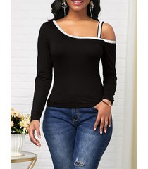 camiseta casual de mangas largas con brillo negro de un hombro