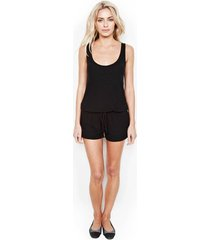 marlin tank shorts romper - l jet black