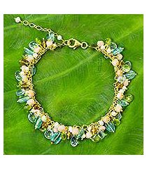 gold plated cultured pearl and multi-gemstone beaded bracelet, 'fantastic rainforest' (thailand)