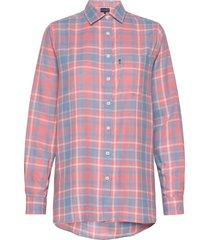 isa flannel shirt overhemd met lange mouwen roze lexington clothing