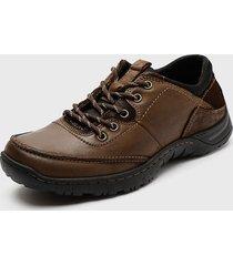 zapato casual cuero marrón pluma