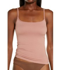 skims stretch rib straight neck camisole, size xx-small in rose clay at nordstrom