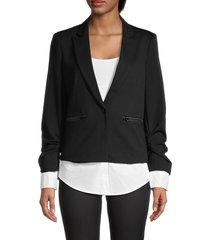 central park west women's notch-lapel cardigan - black - size xs