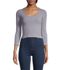 love ady women's ribbed cropped top - dark laveder - size xs