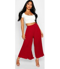 high waist pleated wide leg culottes, berry