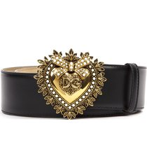 dolce & gabbana black leather devotion belt