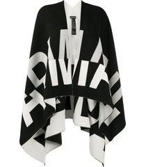 emporio armani intarsia-knit open front cape - black