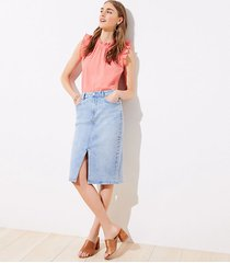 loft petite long denim pencil skirt