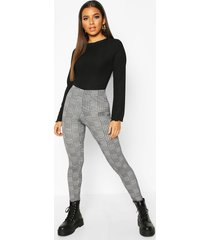 dogtooth flannel basic jersey leggings, black