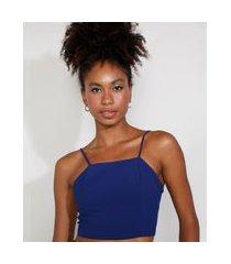 top cropped feminino mindset com amarração alça fina decote reto azul royal
