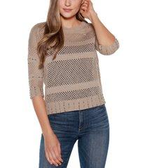 belldini black label crew neck 3/4 sleeve sweater