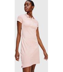 vestido tommy hilfiger mc rosa  - calce regular