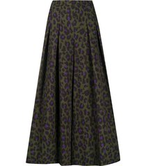 boutique moschino pleated leopard print skirt - green