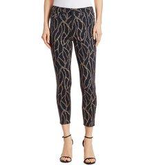 l'agence women's margot chain-print cropped jeans - black - size 28 (4-6)