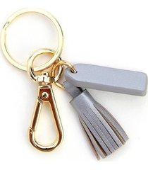 royce new york mini tassel key chain - silver