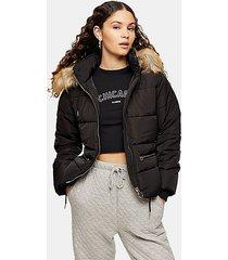 black detachable faux fur hooded padded puffer jacket - black