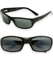 maui jim 'stingray - polarizedplus(r)2' 56mm sunglasses in black at nordstrom
