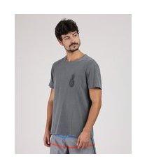 camiseta masculina abacaxi manga curta gola careca cinza mescla escuro