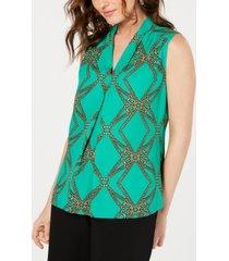 nine west sleeveless v-neck printed blouse