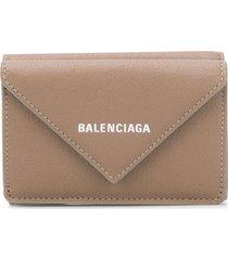 balenciaga mini paper wallet - brown