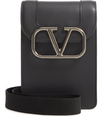 men's valentino small vlogo leather crossbody bag - black