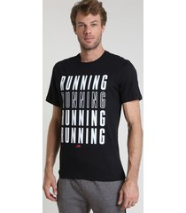 "camiseta masculina esportiva ace ""running"" manga curta gola careca preta"