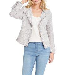 petite women's nic+zoe fringe mix jacket, size petite p - ivory