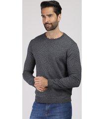 suéter masculino em tricô gola careca cinza mescla escuro