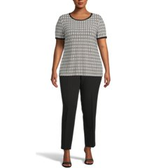 anne klein plus size chain-link printed top