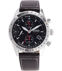 stainless steel & leather chronograph watch