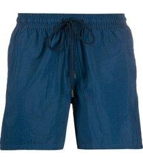 etro drawstring logo patch swim shorts - blue