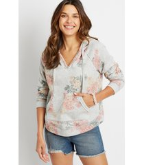 maurices womens gray floral pullover hoodie