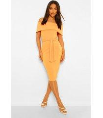 midi bodycon jurk met open schouders en split, orange