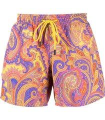 etro paisley-print swim shorts - yellow