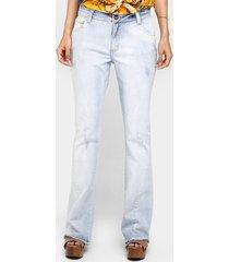 calça jeans flare recorte lateral feminina